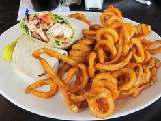 Chicken wrap & curly fries