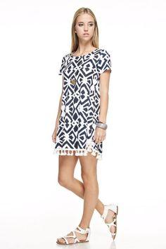Navy Print Tunic Dress with Fringe