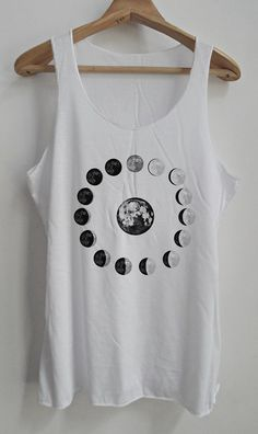 Moon Phases Vintage Tank Top Art  T-Shirt by vintageartshirt