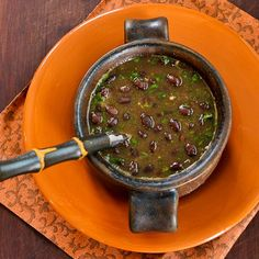 Spicy Vegan Black Bean Soup with Cilantro and Green Tabasco