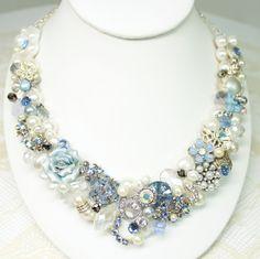 Something Blue Statement Necklace Light Blue Bridal by BrassBoheme, $125.00