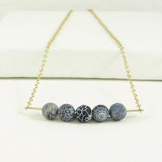 Modern Matte Crackle Agate and Brass Necklace