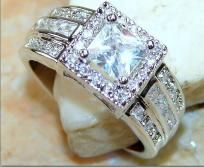 Gorgeous Genuine White Topaz Ring~Solid 925 SS~Sz. 9! Heirloom Piece! Sale Item! Hurry!