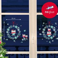 D co de no l pour les fen tres on pinterest noel deco for Sticker fenetre noel