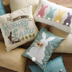 Switch out your throw pillows for the Easter holiday to add a festive touch to your home! They are the perfect way to add pastel colors, adorable bunny rabbits and kind greetings to your couch or bedroom.