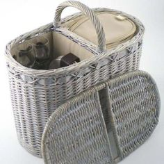 Ideas para cesta de comida campestre: Cesta Gris Oval   -   Picnic basket ideas…