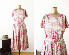 1970s Dress  Pink Pattern Sundress  Vintage Full by MILKTEETHS
