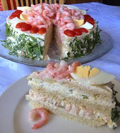 Party Sandwiches, Sandwich Cake, Swedish Recipes, Cooking Tips, Tapas, Food And Drink, Lunch, Snacks, Meals