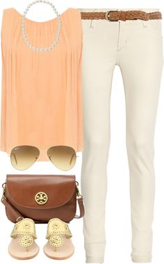 """Peach Shirt"" by classically-preppy on Polyvore"