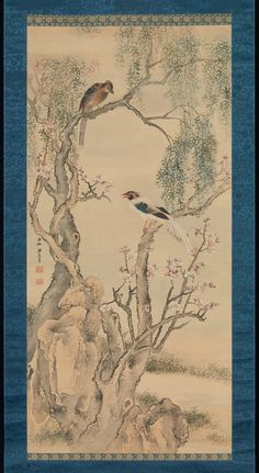 Birds in Willows and Blossoming Peach Tree. Artist: Yosa Buson (Japanese, 1716–1783) Period: Edo period (1615–1868)
