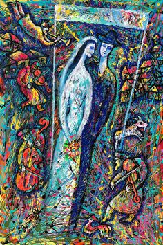 Original Art Klezmer Decorative Abstract Painting Wedding in Jewish Village Modern Art Ready to Hang by Leon Zernitsky Abstract Canvas, Canvas Art, Fauvism Art, Original Art, Original Paintings, Jewish Art, Love Painting, Cubism, Buy Art