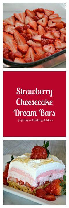 Strawberry Cheesecake Dream Bars - 365 Days of Baking Strawberry Desserts, Frozen Desserts, Summer Desserts, Strawberry Cheesecake, No Bake Desserts, Cheesecake Recipes, Easy Desserts, Dessert Recipes, Cheesecake Bars