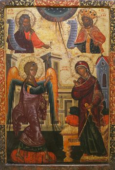 The Annunciation with Prophets Isaiah and David Whispers of an Immortalist: Icons of Christ's Infancy 1 Byzantine Icons, Byzantine Art, Religious Icons, Religious Art, Orthodox Catholic, Prophet Isaiah, Christian Artwork, Religious Paintings, Bible Pictures