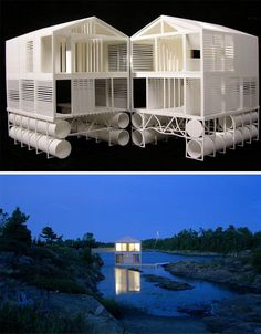 """From dornob.com: More like a floating home than a houseboat, this building exists at """"the intersection of a vernacular house typology with the shifting site-specific conditions of this unique place."""" In short: it is not the go-anywhere houseboat that fits in nowhere, but the location-tethered home on the water that belongs to its environment."""