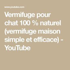 Vermifuge pour chat 100 % naturel (vermifuge maison simple et efficace) - YouTube