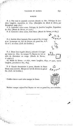 Histoire des manufactures françaises de porcelaine par le comte Xavier de Chavagnac et Charles marquis de Grollier paru en 1906 chez Alphonse Picard et Fils à Paris XXVIII pp. dont le titre, 968 pp.