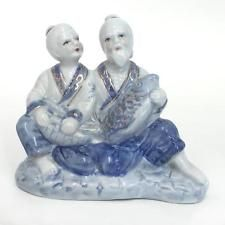 """Porcelain blue, white and gold color figurine statuette """"pair of Chin... Lot 63A"""