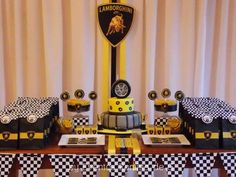 Eventos Romina D's Birthday / Lamborghini Party - Cars - Photo Gallery at Catch My Party Boys First Birthday Party Ideas, Race Car Birthday, 10th Birthday Parties, Birthday Party Themes, 7th Birthday, Gold Party Decorations, Diy Birthday Decorations, Huracan Lamborghini, Lamborghini Diablo