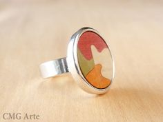 Handmade Wood Ring with silver plated  Adjustable ring  by CMGArte, €32.00