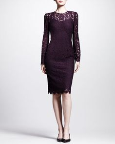 I wish this was black!!! Long-Sleeve Lace Illusion Sheath Dress by Dolce & Gabbana at Neiman Marcus.