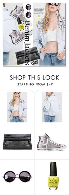 """""""Denim Trend: Jean Jackets"""" by svijetlana ❤ liked on Polyvore featuring Converse and Linda Farrow"""