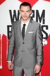 Nicholas Hoult looked dapper in a grey suit from Balenciaga