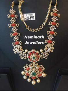 Jewelry Design Earrings, Bead Jewellery, Beaded Jewelry, Gold Jewelry Simple, Coral Jewelry, Diamond Jewelry, Antique Jewellery Designs, Diamond Jhumkas, Floral Garland