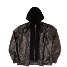 POINT ZERO Faux Leather Hooded Jacket