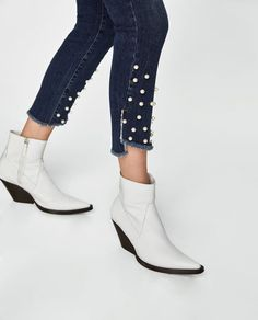 Image 6 of JEANS WITH FAUX PEARLS from Zara