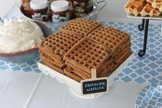 Chocolate Waffles  #pickyourplum  #minichalkboardsign  #tablerunner  #paperplates  #treatstand  #roundservingtray