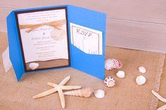 Beach Wedding Invitation...Real Seashells...Perfect for your destination wedding - DESIGN & SET UP. $50.00, via Etsy.