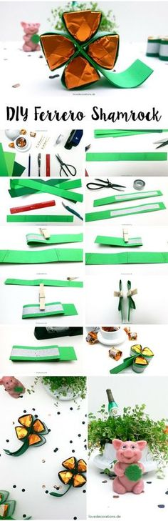 DIY Ferrero Shamrock   Silvester-Mitbringsel Kleeblatt