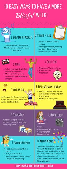 10 Easy Ways To Have A More Blissful Week http://thepersonalfreedomproject.com/10-easy-ways-to-blissful-week/