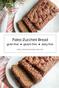 This grain-free, gluten-free zucchini bread recipe is the right mix of savory and sweet, and the perfect way to sneak veggies into your kids (or adult husbands) diets! Paleo Zucchini Bread, Zuchinni Bread, Healthy Vegan Snacks, Paleo Treats, Savory Snacks, Snack Recipes, Dessert Recipes, Paleo Recipes, Paleo Dessert