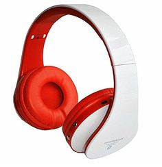 Universal Bluetooth Headphone Headset w/FM Radio for Smartphones Samsung Iphone WHITE-RED