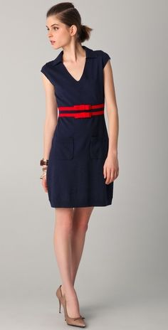 navy and red dress