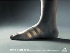 Adidas - Fake hurts real. Imitations are poorly made, giving you no protection - Advert