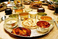 """Indian thali"" variety of dishes in one plate.. n u can eat all u want !!"