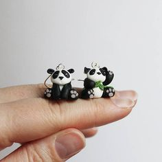 Cute panda bear earrings, hand sculpted polymer clayearrings, statement mismatched earrings, perfect gift, nickel free, black and white