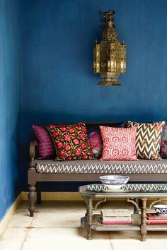 At Home: A Colourful House in Delhi Discover the Delhi house owned and designed by the founder of Good Earth Anita Lal, who has filled it with bold patterns and bright colours on HOUSE – design, food and travel by House & Garden. Moroccan Interiors, Moroccan Decor, Moroccan Garden, Indian Garden, Blue Interiors, Moroccan Bedroom, Deco Ethnic Chic, Boho Chic, Bohemian