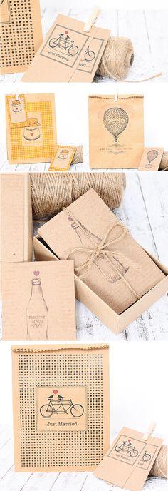 Tarjetas y bolsas craft para regalar con diseños vintage