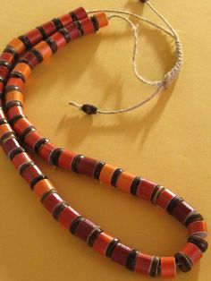 Orange and Red Paper Bead Necklace Upcycled Recycled and