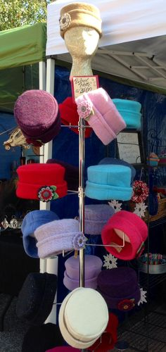 Awesome hats upcycled from wool sweaters.