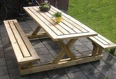 20 Awesome Diy Wooden Picnic Bench You Need to Do. 15 Free Picnic Table Plans In All Shapes and Sizes Diy Outdoor Furniture, Furniture Projects, Wood Projects, Diy Furniture, Furniture Plans, Furniture Design, Wooden Garden Furniture, System Furniture, Backyard Furniture