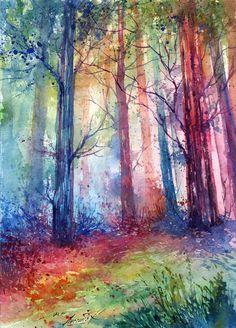 Colorful Watercolor Landscape by Anna Armona