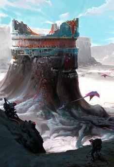 ArtStation - Pilgrimage to the Vaettir Tomb, Garrett Post Fantasy Artwork, Fantasy Concept Art, Sci Fi Fantasy, Fantasy World, Arte Sci Fi, Sci Fi Art, Environment Concept, Environment Design, Fantasy Landscape