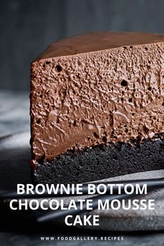 This Brownie Bottom Chocolate Mousse Cake is a rich fudgy brownie is topped with a decadent dark chocolate cheesecake mousse. Delicious Cake Recipes, Yummy Cakes, Sweet Recipes, Dessert Recipes, Yummy Food, Chocolate Mousse Cake, Chocolate Desserts, Flourless Chocolate, Chocolate Cheesecake