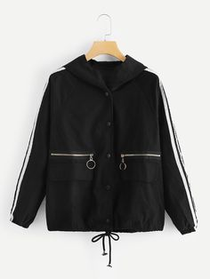 To find out about the Contrast Tape Side Drawstring Hem Hooded Jacket at SHEIN, part of our latest Jackets ready to shop online today! Sweater Jacket, Hooded Jacket, Cute Fashion, Fashion Outfits, Mode Hijab, Striped Fabrics, Coats For Women, Mantel, Korean Fashion