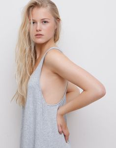 Pull&Bear - woman - pacific girls - striped low-back dress - grey marl - 05392363-V2015