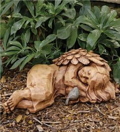 "'Sleepy Angel' Garden Statue - from Wind and Weather;  has a wood-like carved appearance, but is weather-durable;  10.5"" x 22"""